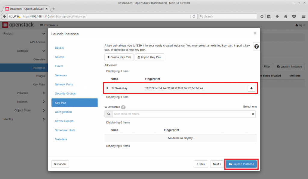 Launch an OpenStack Instance - Select Key Pair & Launch Instance