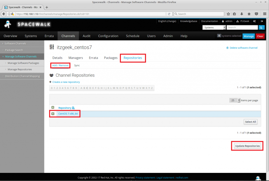 Managing Channels and Repositories in Spacewalk - Attach repository to Base Channel