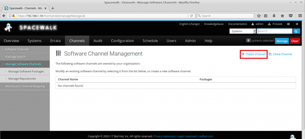 Managing Channels and Repositories in Spacewalk - Create Base Channel