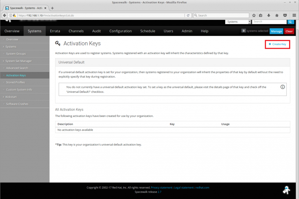 Managing Channels and Repositories in Spacewalk - Create an Activation Key