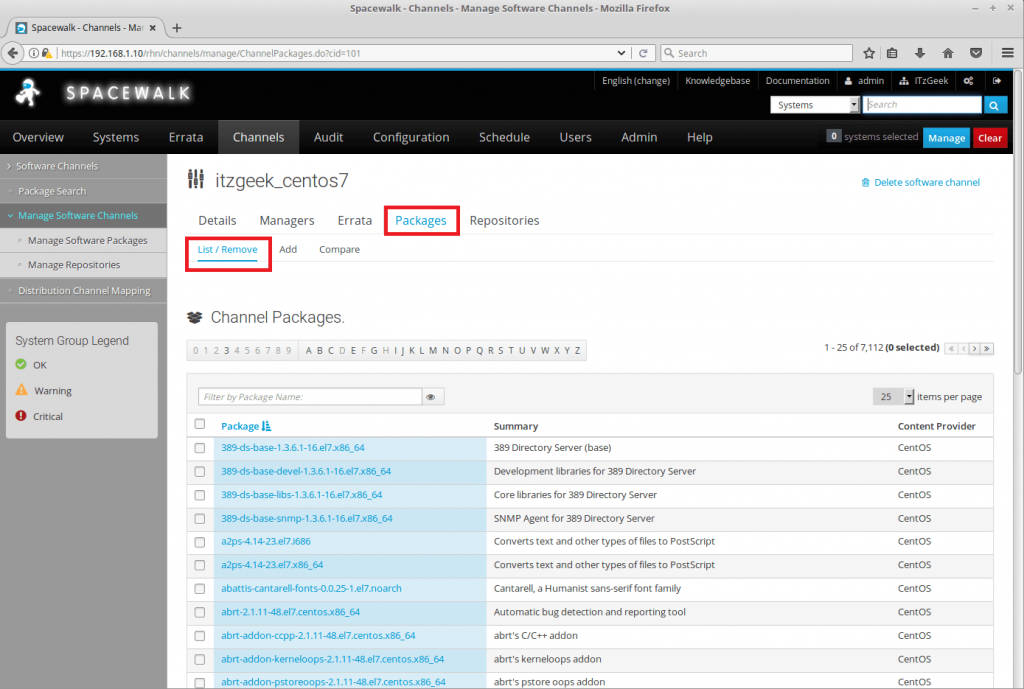 Managing Channels and Repositories in Spacewalk - List Packages in Channel