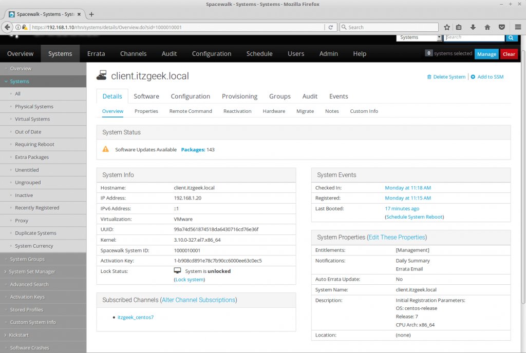 Register clients with SpaceWalk Server - System Overview
