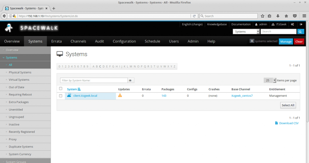 Register clients with SpaceWalk Server - Systems List