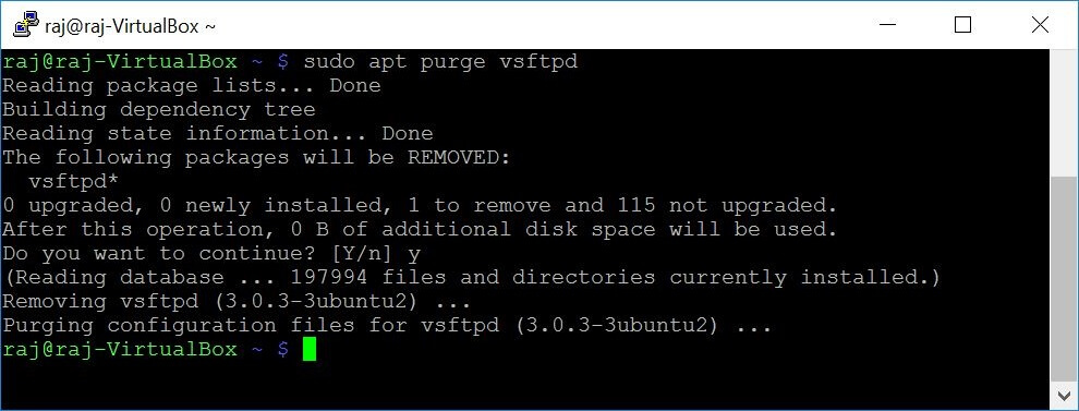20 apt command examples - Output of apt purge