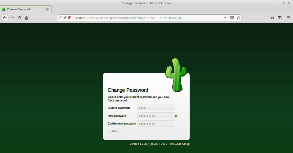 Install Cacti on Ubuntu 16.04 - Cacti Password Change