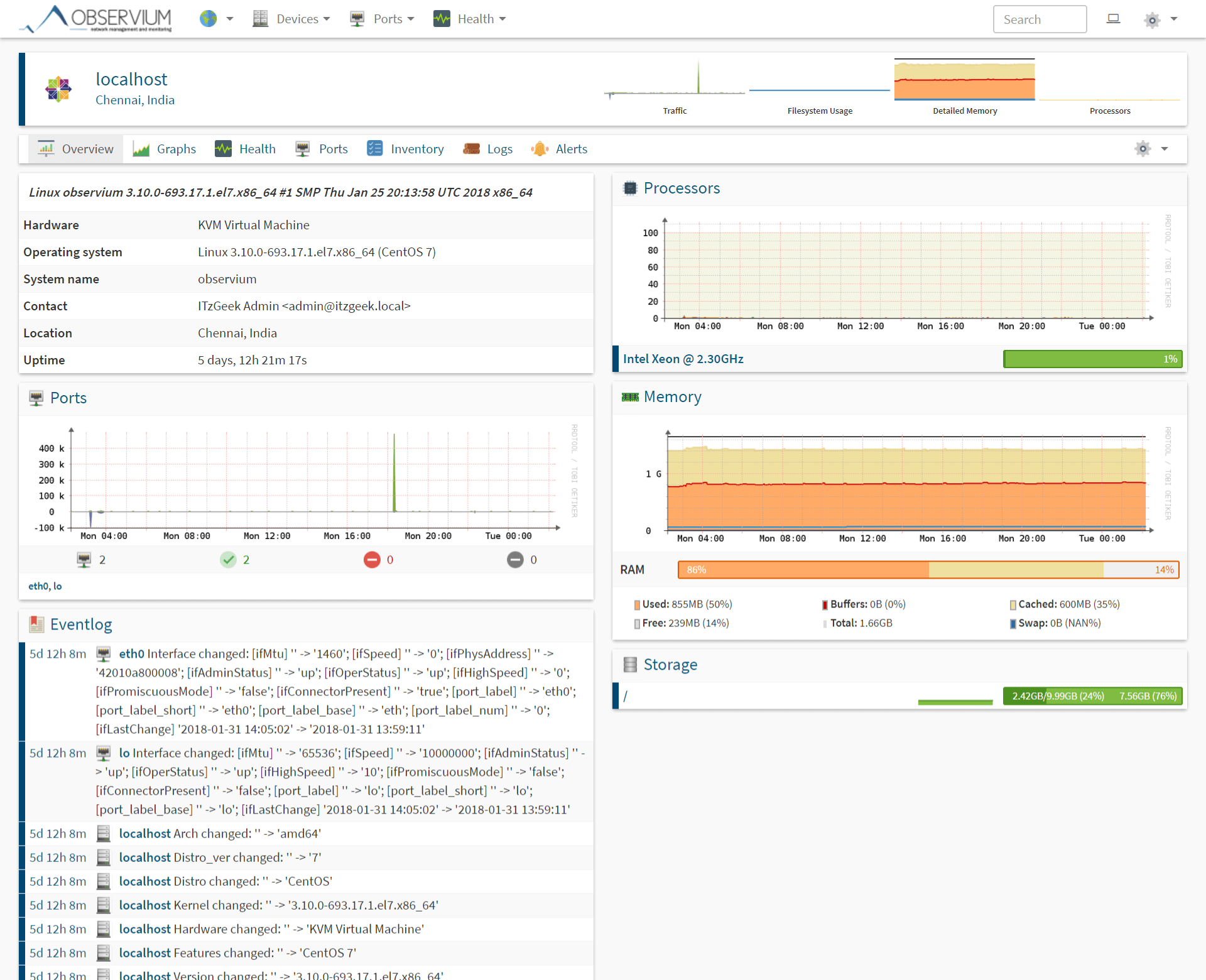 How to Monitor Linux Machines with Observium Monitoring Tool