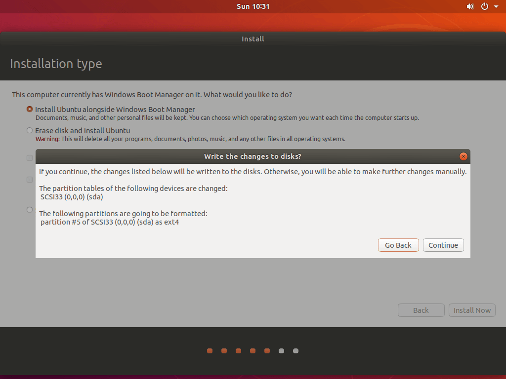 Install Ubuntu 18.04 Alongside With Windows 10 - Confirm the Changes