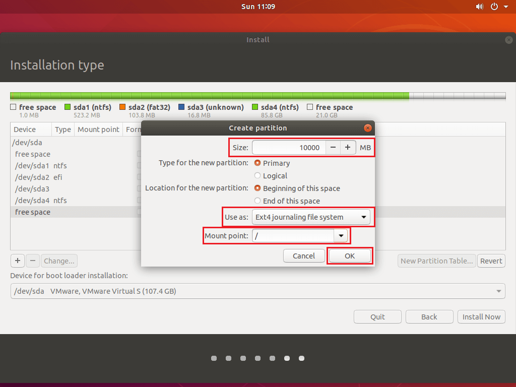 Install Ubuntu 18.04 Alongside With Windows 10 - Root Partition