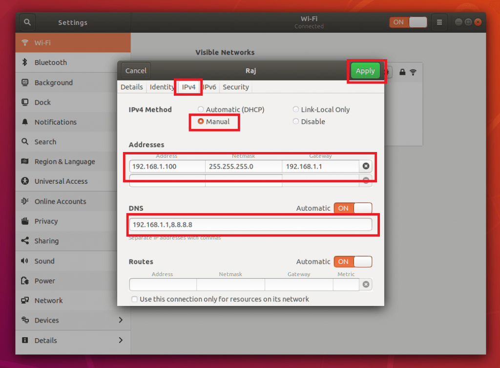 Configure Static IP Address in Ubuntu 18.04 - Manual IP Address to WiFi