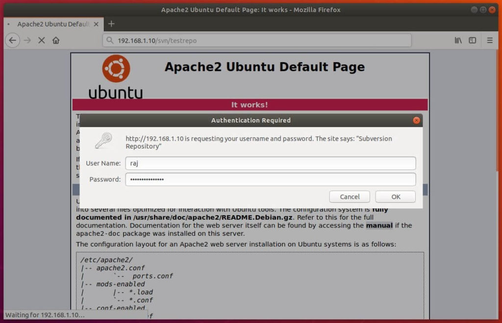 Install Apache SVN on Ubuntu 18.04 - Aapache SVN Authentication