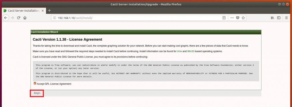 Install Cacti on Ubuntu 18.04 - Cacti License Agreement