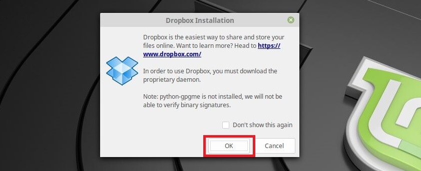 Install Dropbox on Linux Mint 19 - Install Proprietary Daemon