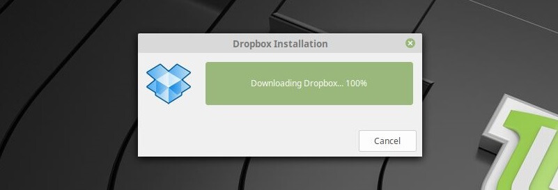 Install Dropbox on Linux Mint 19 - Install in Progress