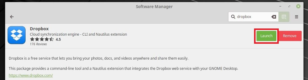 Install Dropbox on Linux Mint 19 - Installation Complete