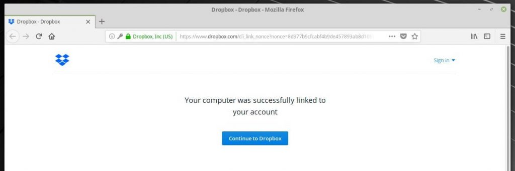 Install Dropbox on Linux Mint 19 - Successfully connected