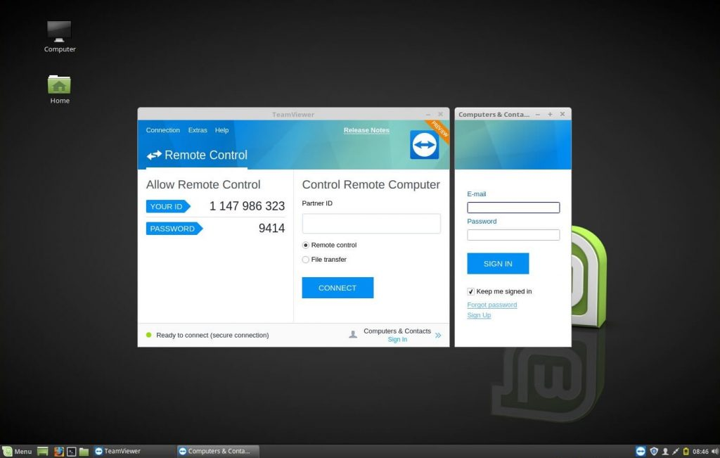 Install TeamViewer on Linux Mint 18 - TeamViewer running on Linux Mint 18