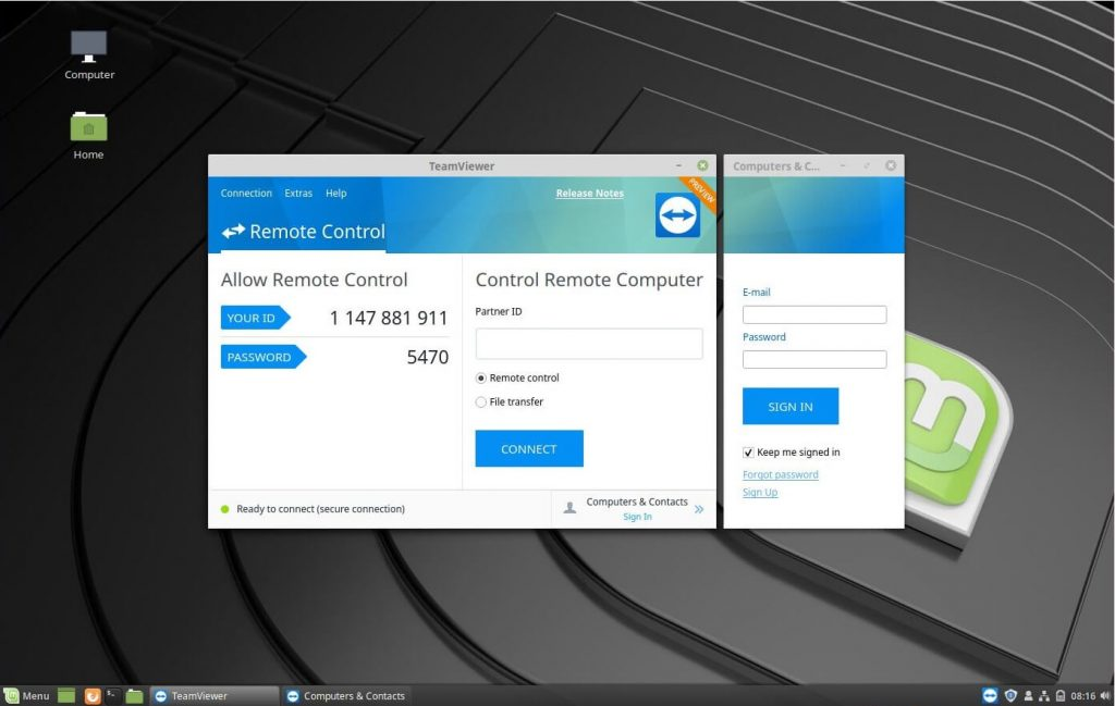 Install TeamViewer on Linux Mint 19 - TeamViewer running on Linux Mint 19