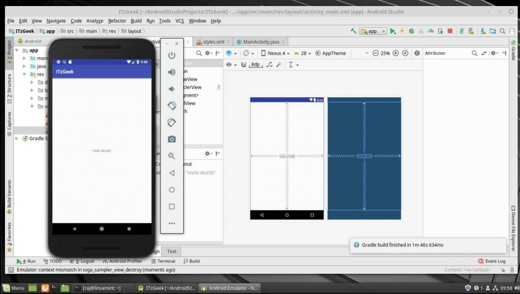 Install Android Studio on Linux Mint 19 - Android Studio Running on Linux Mint 19