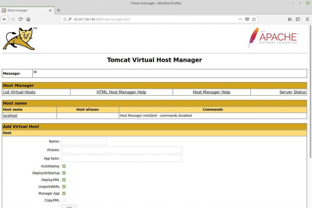 Install Apache Tomcat 9.0 on CentOS 6 - Tomcat Virtual Host Manager