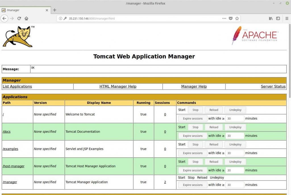 Install Apache Tomcat 9.0 on CentOS 6 - Tomcat Web Application Manager