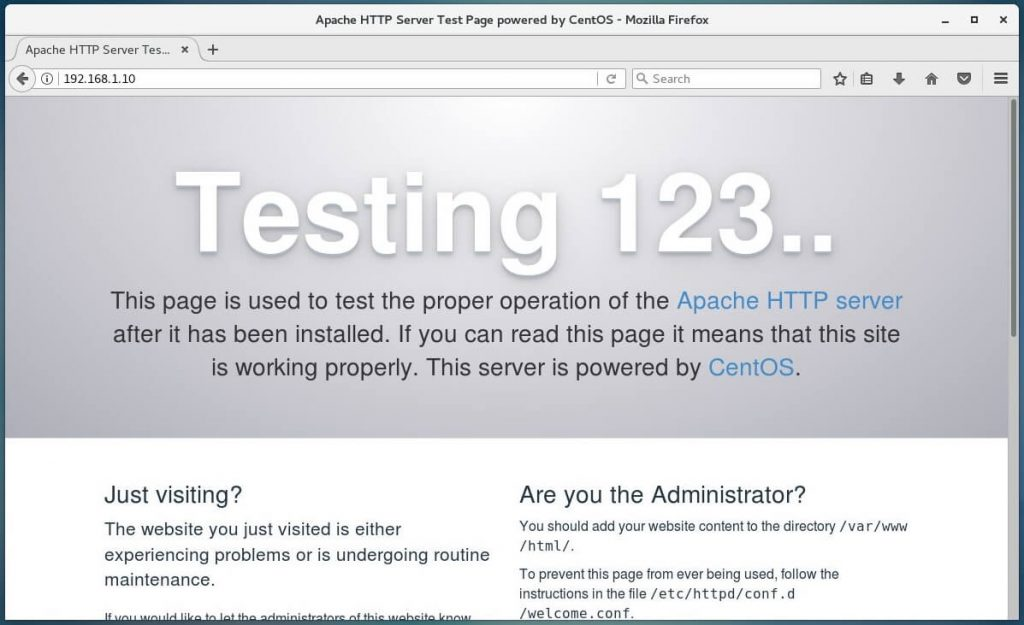 Install Linux, Apache, MariaDB, PHP (LAMP Stack) on CentOS 7 - Apache Web Server's Default Page