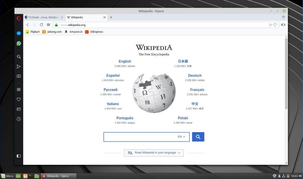 Install Opera Browser on Linux Mint 19 - Opera Browser Running on Linux Mint 19