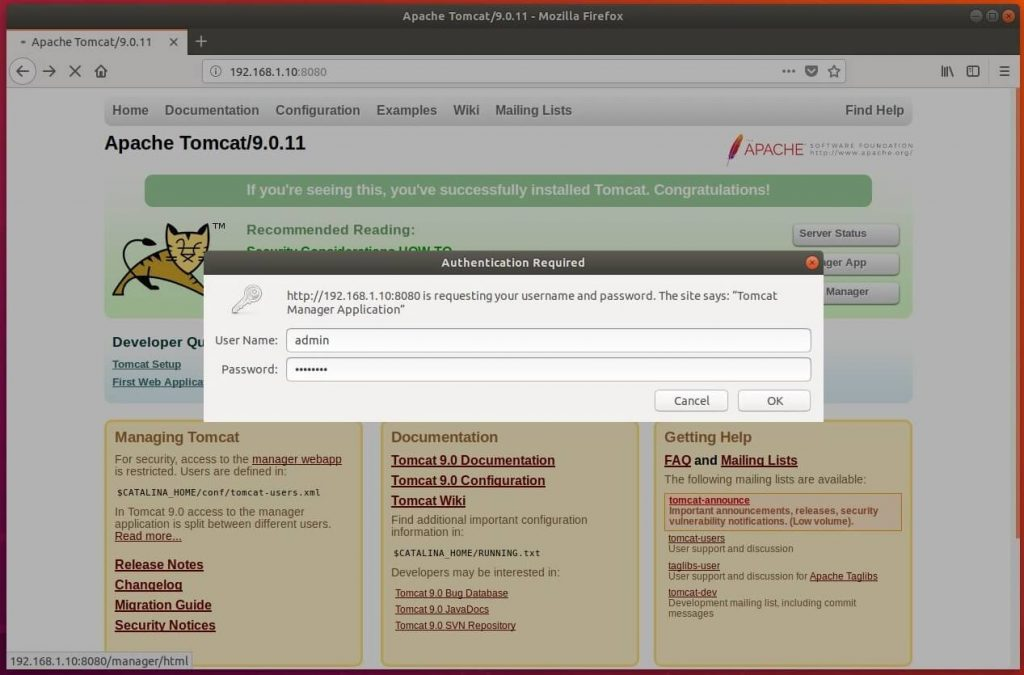 Install Tomcat 9.0 on Ubuntu 18.04 - Login for Web Manager