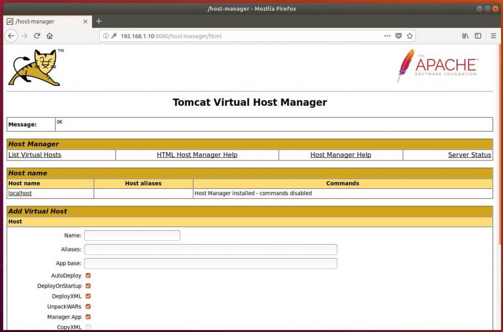 Install Tomcat 9.0 on Ubuntu 18.04 - Tomcat Virtual Host Manager