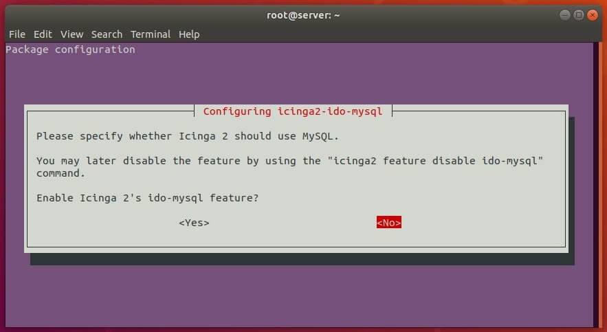 Install Icinga 2 on Ubuntu 18.04 - Enable ido-mysql feature