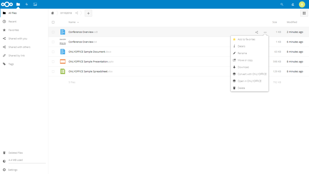 Create your Web office with Nextcloud and ONLYOFFICE - onlyoffice file menu nextcloud
