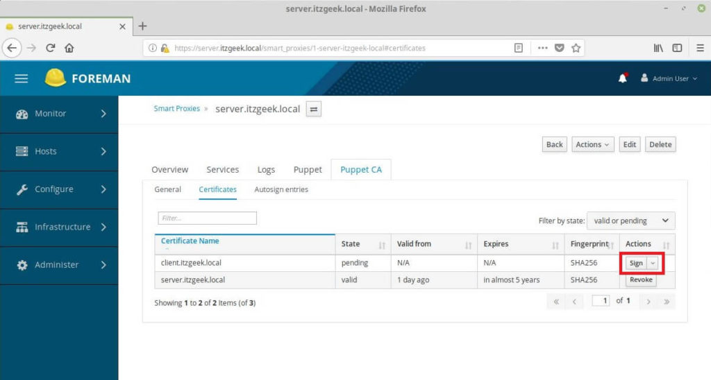 Add Puppet Nodes to Foreman - Foreman Signs Puppet Agent Ceritificates