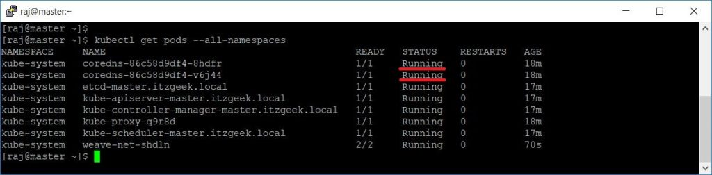 Install Kubernetes on CentOS 7 - Cluster Status post installing Network Add-on