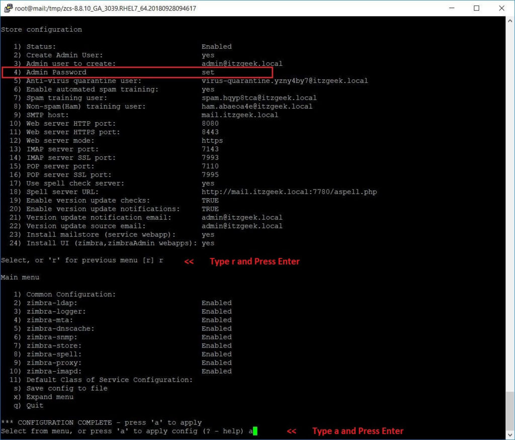 Install Open Source Zimbra Mail Server on CentOS 7 - Apply Configuration