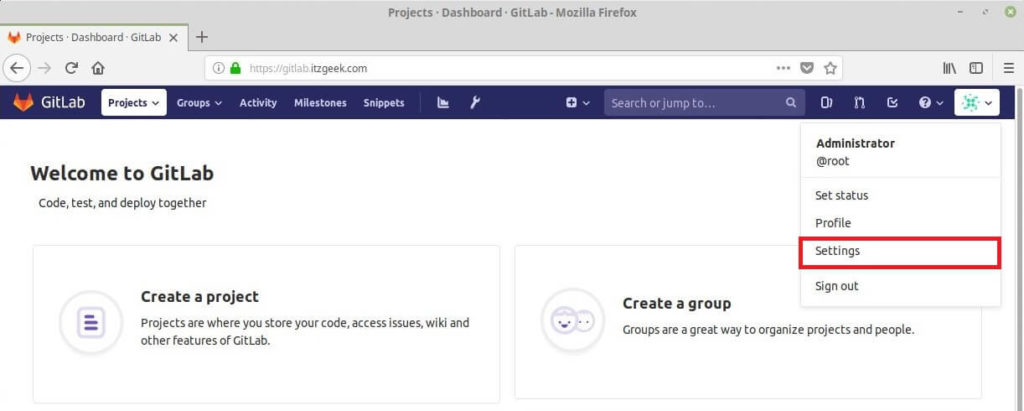 Install and Configure GitLab on CentOS 7 - Change Admin Settings