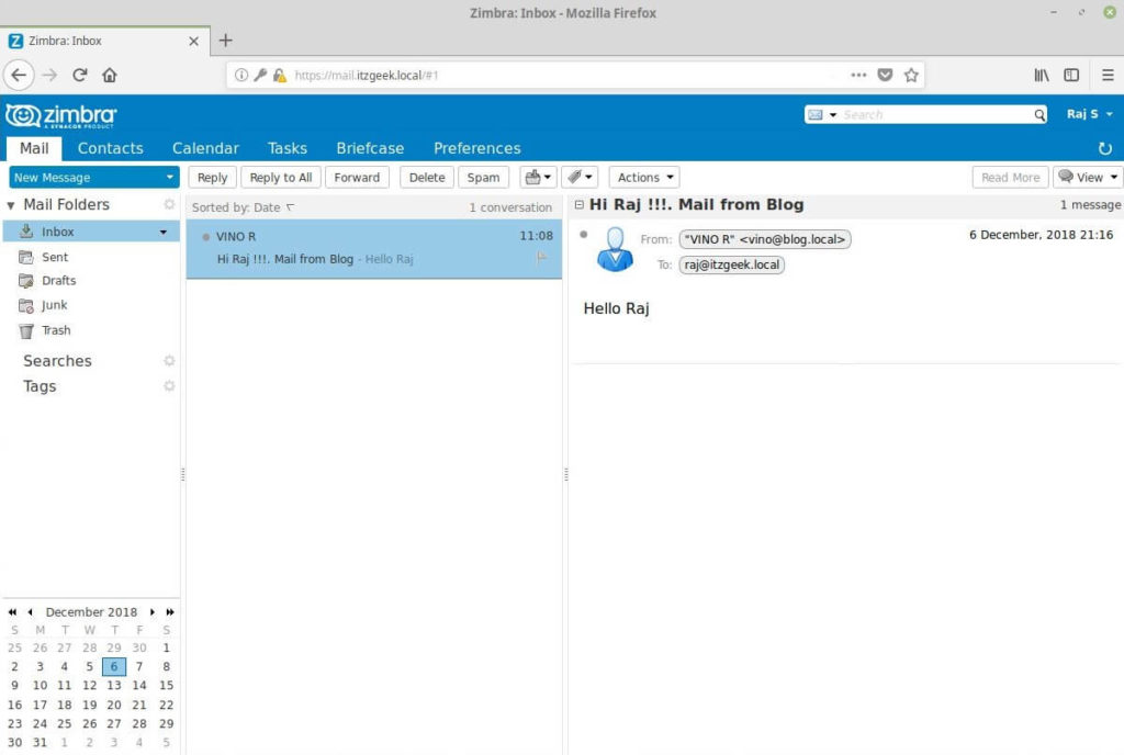 Zimbra Web Mail Client - Email From Other Domain