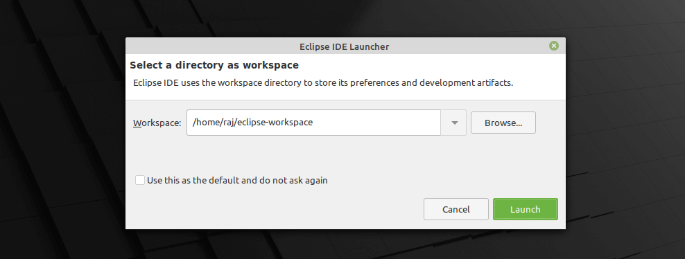Set Workspace for Eclipse