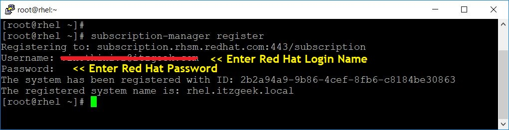 Register System With Red Hat