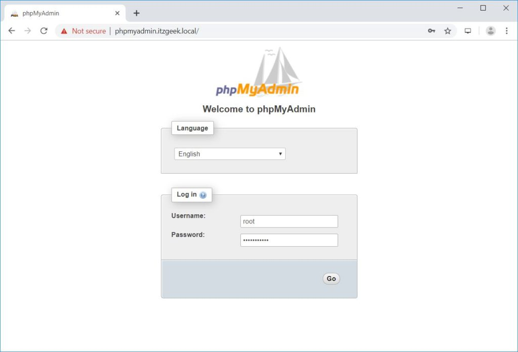 Install phpMyAdmin with Nginx on CentOS 7 – phpMyAdmin Login Page