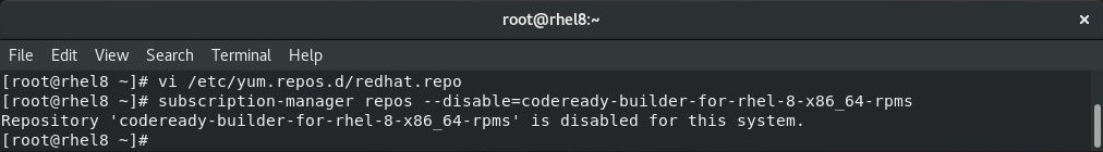 Enable Red Hat Subscription on RHEL 8 - Disable Red Hat Repository