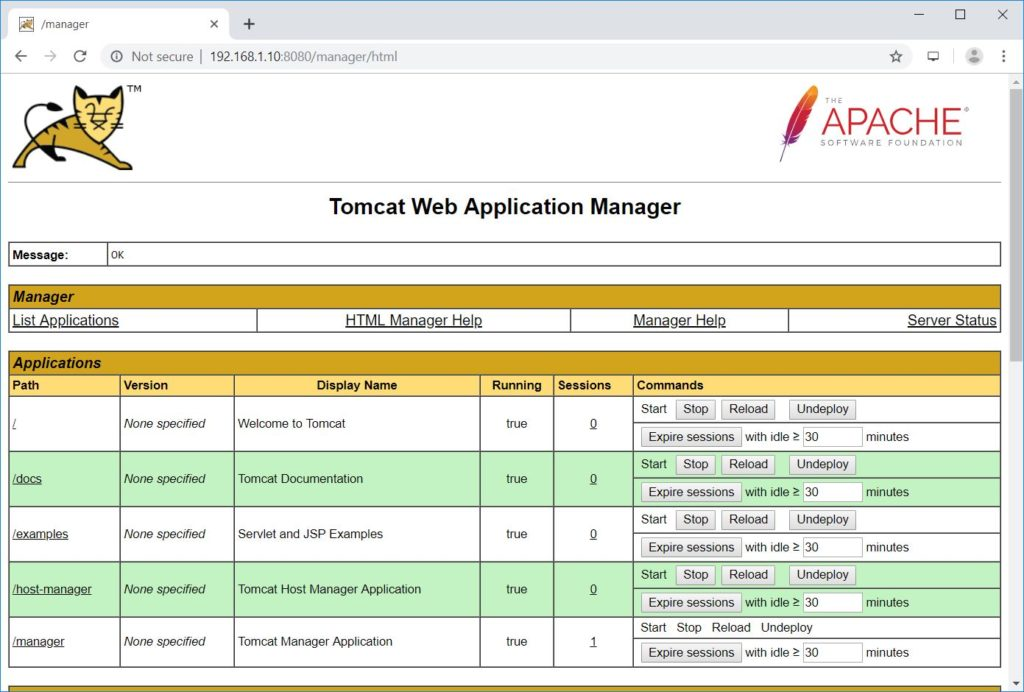 Tomcat Web Application Manager