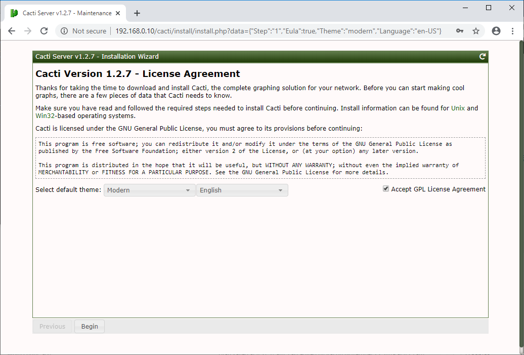 Accept Cacti License Agreement
