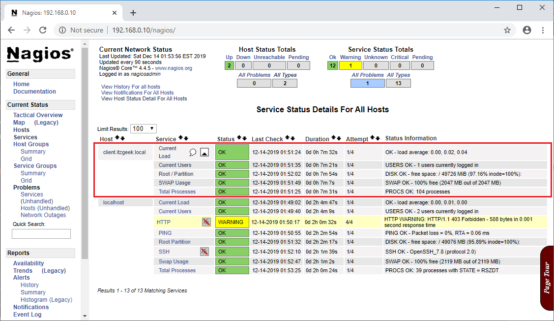 Monitor Remote Linux Systems With Nagios - Monitor Services