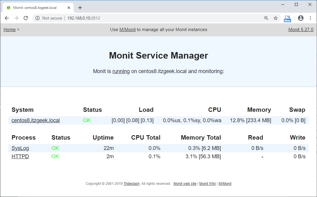 Install Monit on CentOS 8 - List of Services