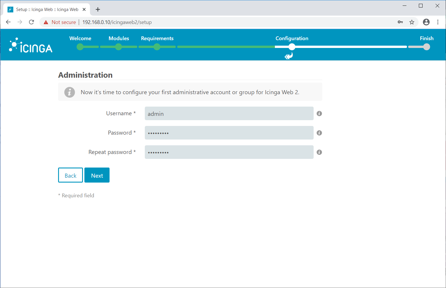 Create Icinga Web 2 Admin Account