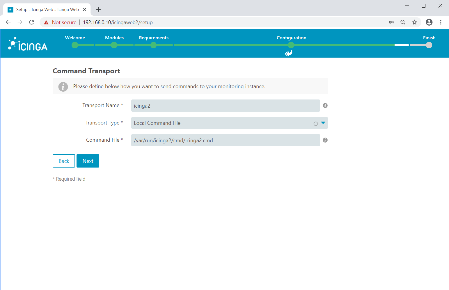 Icinga Local Command File Transport