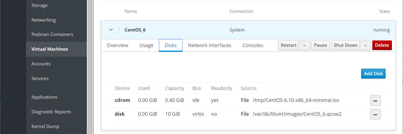 Manage VM Disks With Cockpit