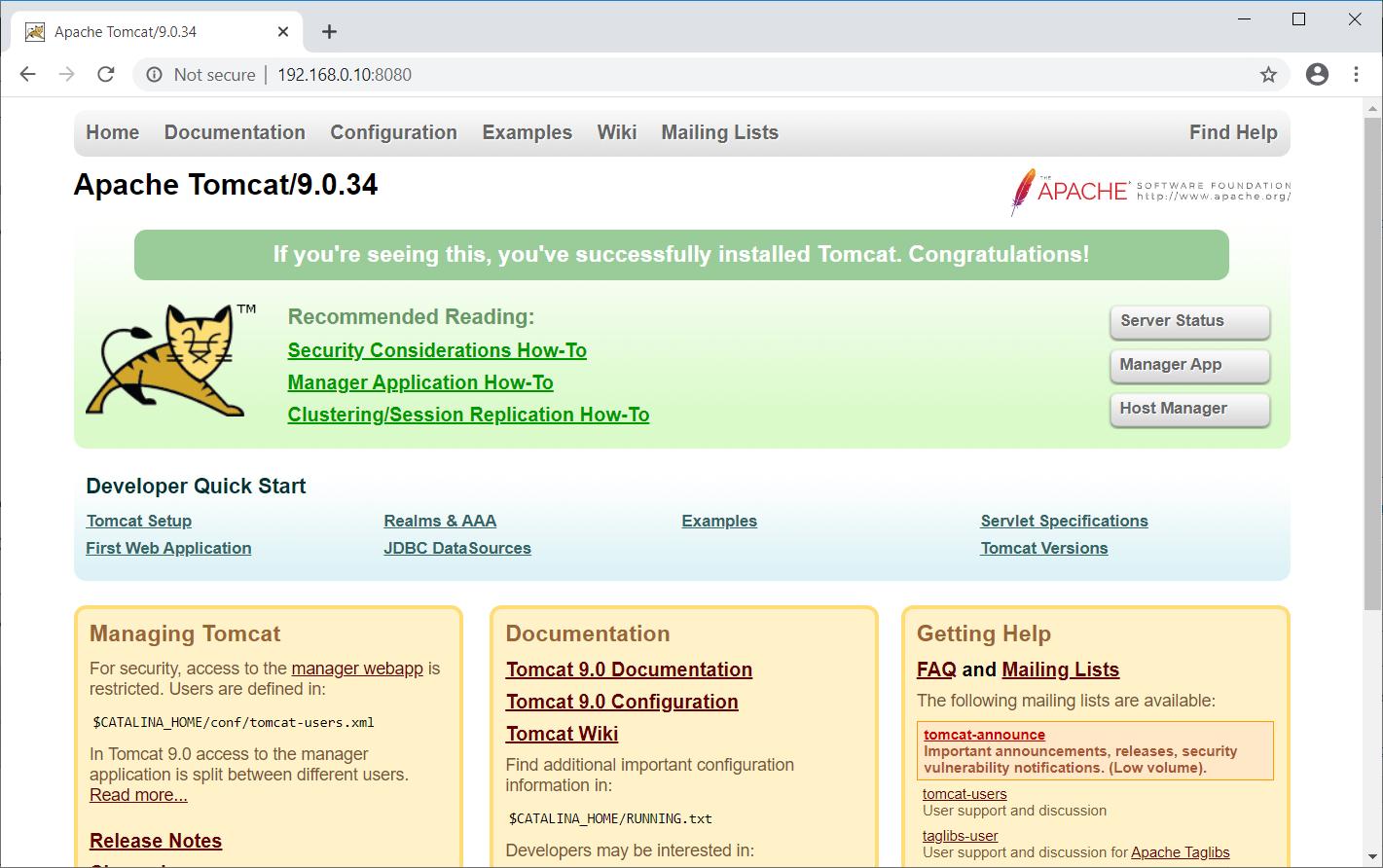 Apache Tomcat 9 Default Page