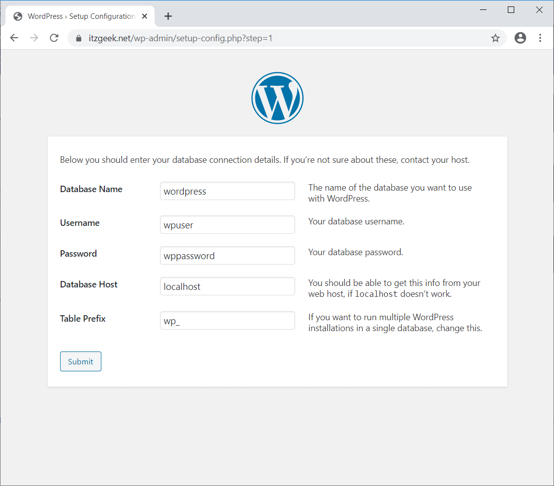 Enter WordPress Database Details