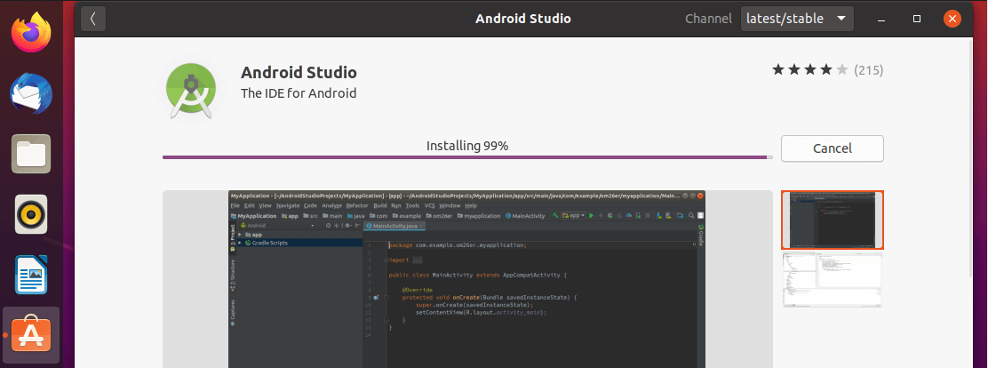 Android Studio Installation In Progress
