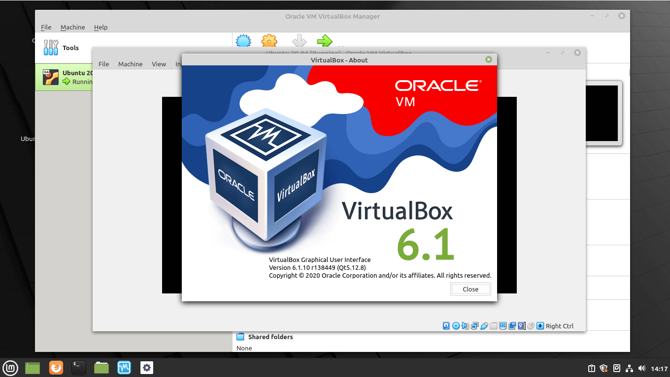 VirtualBox Running Virtual Machine On Linux Mint